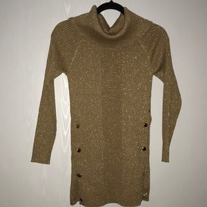 NY & Co. Metallic Camel Off-The-Shoulder Sweater.